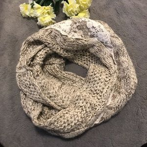 Accessories - Knit infinity scarf with lace accent